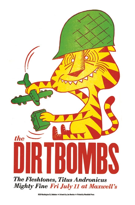 Dirtbombs Poster Dirtbombs, dirt, bombs, punk, garage, letterpress, Woodside, press, linoleum block, cat, army, play, joe newton, joseph newton, illustration, id