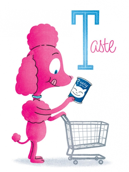 To each his own savage love, joe newton, joseph newton, illustration, art, poodle, pink, cat food, pussy, taste, to each his own, different strokes for different folks